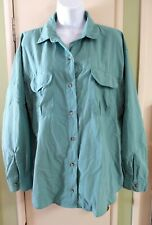 LL Bean Sportif Vented Long Sleeve Fishing Shirt  Nylon Women's M Green