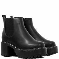 Womens Platform Block Heel Chunky Ankle Boots Sz 3-8