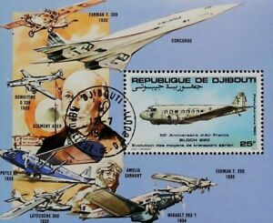 Djibouti Air Post 1983 Air France Bloch 220 Clement Ader Used Sheet 14267