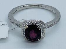 BEVERLY K Designer 18K White Gold Burmese Ruby Halo Solitaire & Diamond Ring
