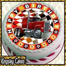 ROUND 7.5 INCH EDIBLE ICING CAKE TOPPER HAPPY BIRTHDAY TRUCK LORRY WAGON KCL0012