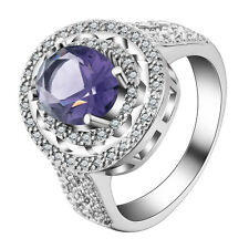 Women fashion jewelry  925 silver  Amethyst CZ wedding ring size 6