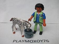 PLAYMOBIL. TIENDA PLAYMOXOY76. CUIDADOR DEL ZOO CON CRÍA DE CEBRA.