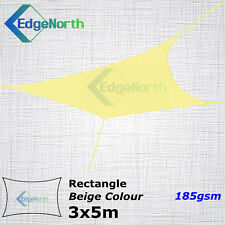 Heavy Duty Rectangle Shade Sail Outdoor Sun Cloth Canopy Awning Sand Beige 3x5m
