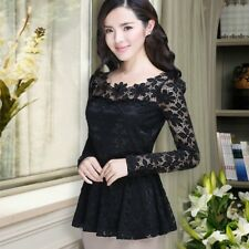 Women Lace Slim Fit Peplum Tops Blouse Floral Long Sleeve T Shirt Elegant M-5XL