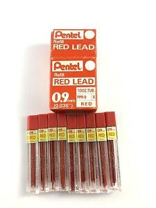 Pentel RED Lead Refill, 0.9mm, 10 tubes, (PPR-9).