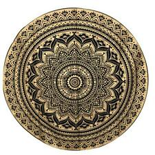 "Big Roundie Round Yoga Mat Gold Mandala Flower 72"" Inches Fabric Indian Cotton"