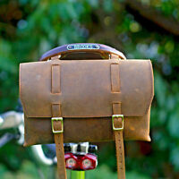 Leather saddle bag vintage Handmade bicycle handlebar bag bike pouch Brown Box