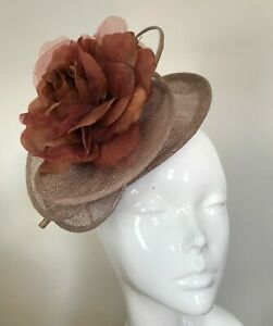 One Off Pale Cocoa Designer Fascinator by Hat Couture Wedding Bridal Racing Hat