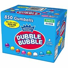 Dubble Bubble 850 1 inch Gumballs 8 Flavor Gum Assorted Bulk Candy Vending Case
