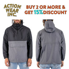 MENS ANORAK HOODED WINDBREAKER JACKET CASUAL WATERPROOF PULLOVER HIP HOP
