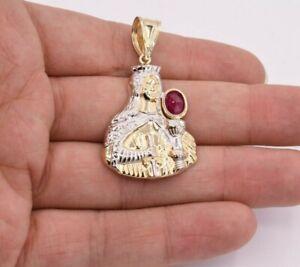 "2"" Saint Barbara Diamond Cut Ruby Pendant Real 10K Yellow White Gold"