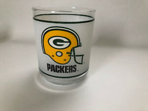 VINTAGE NFL GREEN BAY PACKERS Mobil Gas FROSTED GLASS TUMBLER
