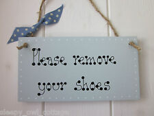 Please Remove Your Shoes Door Sign Plaque Painted in Duck Egg Paint