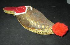 "Decorative Shoe made of Cloth w/ Cardboard  sole, Gold w/ red Tassel 10"" long"