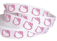 RUBAN GALON GROS GRAIN BLANC FUCHSIA HELLO KITTY NAISSANCE FILLE CAT COUTURE