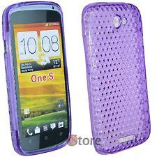 Cover Custodia Per HTC One S Silicone Gel TPU VIOLA + Pellicola Salva Schermo