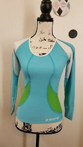 Skins Blue/Green  Women's Long Sleeve Compression Top Size XS