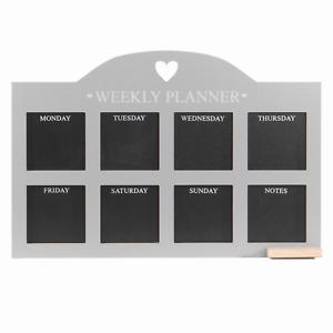 Weekly Planner Chalkboard Wall-Mountable Reminder Memo Board Wooden Grey M&W