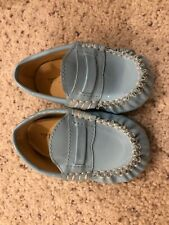 Trumpette 3 Baby Infant Blue Moccasins Slip On Loafer Shoe Unisex Patent Leather