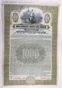 CA. San Joaquin Light & Power Corp., 1924 $1000 Specimen 6% Gold Bond, VF ABN