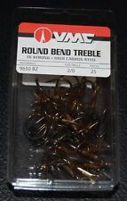 VMC 9650 Round Bend Treble Hooks Size 2/0 -  25 Pack 9650BZ-20 Bronze 1X Strong