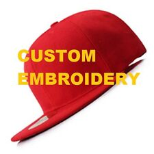 **CUSTOM** Personalised Embroidery Red FLAT Brim SNAPBACK Cap Embroidered Hat