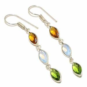 """Milky Opal, Peridot Gemstone Handmade Ethnic Silver Jewelry Earring 2.4"""" RJ4061"""