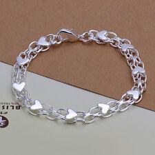 "Fashion 925Sterling Silver 12MM Love Heart Women Chains Bracelet 8"" ZH293+BOX"