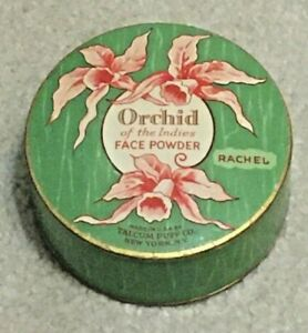 Vintage C1930 Orchid of the Indies Cardboard Round Face Powder Box Unopened Full