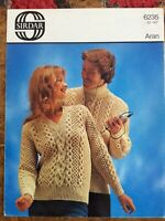 Womens knitting patterns.jumpers.size 32-42 inch chest.Aran.Sirdar.mens patterns