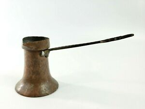 Vintage Hammered Copper Turkish Arabic Coffee Pot Small w Ornate Handle