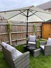 Outdoor Rattan Garden Furniture Set + Parasol + Parasol Anchor + Parasol Light