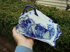 ANTIQUE ENGLISH BLUE AND WHITE CHEESE DOME AND STAND IRIS PATTERN c1910