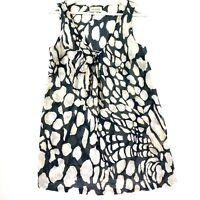 VERONIKA MAINE Women's Size 10 Grey Cream Sleeveless V-Neck Short Dress Long Top