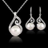 Luxury Women Wedding Bridal Pearl Jewelry Set Rhinestone Necklace And Earrings