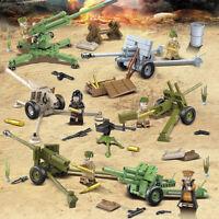 6pcs/set Militär Kanone Waffen Bausteine mit WW2 Soldaten Armee Figuren Bricks