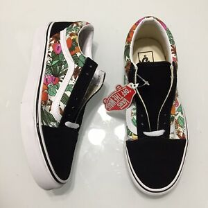 NEW Vans Old Skool Multi Tropic Black Suede Floral Skate Shoes Womens Size 8 8.5