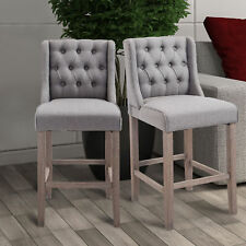 HomCom 40 Tufted Counter Height Bar Stool Dining Chair Set of 2 - Gray Grey