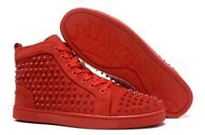 Christian Louboutin Spikes Sneakers Red Suede Shoes 42