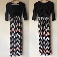 Angvs Women's Size 2XL XXL Black Pink White Zig Zag Print Maxi Dress Shirred