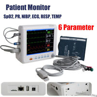 "Portable 6 parameter 8"" Vital Sign Patient Monitor ECG NIBP RESP SPO2 PR TEMP"
