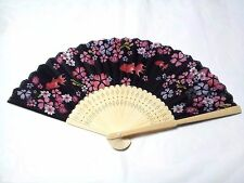 JAPANESE Sensu Fan With the wind /poly made /Flower and Goldfish /Japan