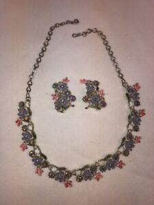 Vtg 50's PAM Iridescent Rhinestone Flower Chocker Necklace Clip Earrings Set