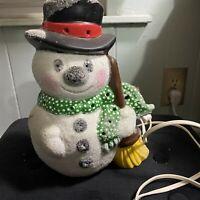 "Vintage Ceramic Snowman Lighted Glitter Large Hat Broom Scarf 9"" tall"