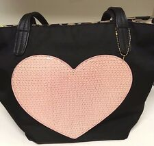 Betsey Johnson Black with Pink Heart Design Purse/Tote/Satchel