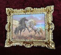 Bild mit Rahmen Barock Gold-Weiß Pferd Wandbild Tiere 45x38 Wilde Pferde Bild
