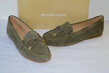 New $120 Michael Kors Sutton Moc Suede Olive Green Flats Bow Loafer