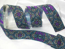 "1.5/8"" (43mm) Purple,Turquoise & Silver Multi  Jacquard Ribbon x 1 yard"