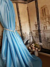 "NEW! Sublime Huge Classic Taffeta Silk Sky Blue 113""D52""W Interlined Curtains"
